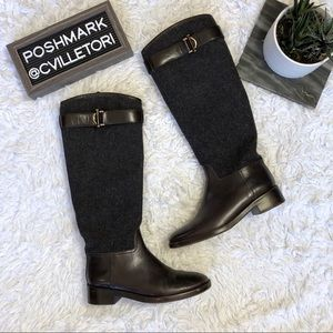 Tory Burch Grace Riding Boots Flannel Leather 8.5